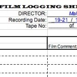"The logging sheet used on set by the Cameramen for ""When Kane was Able"""