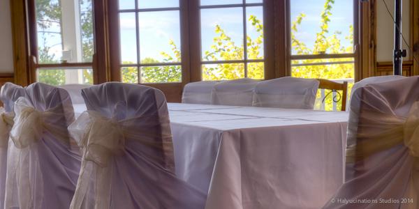 Tables awaiting wedding reception