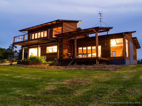 Real Estate: Farm Homestead lights at Dusk — back